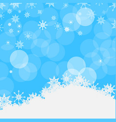 Winter blue background with snowflakes snow and vector