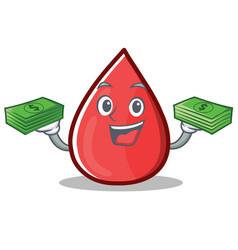 With money blood drop cartoon mascot character vector