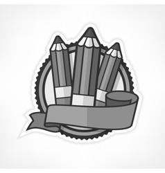 Grey emblem with pencils on vector