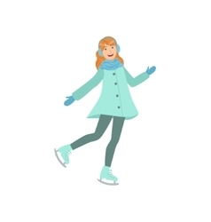 Girl ice skating winter sports vector