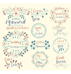 Wedding InvitationSave DateI Love YouGetting vector image