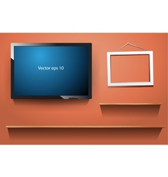 tv on wall with wood shelf vector image