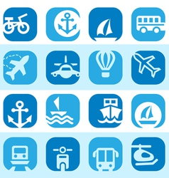 Color transportation icons set vector