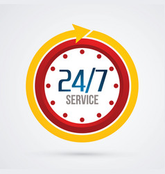 Clock 24 hours a day and 7 days service vector