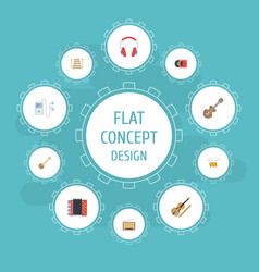 Flat icons acoustic retro disc banjo and other vector