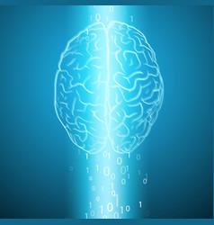 Digital brain on blue background vector