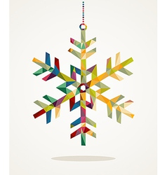 Merry Christmas snowflake shape with triangle vector image