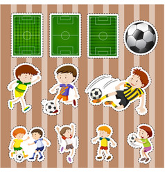 Sticker design for soccer players and fields vector