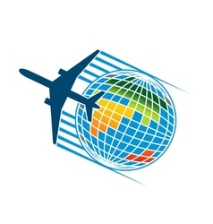 Airplane flying around a colourful earth globe vector