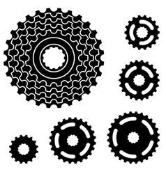 Bicycle gear cogwheel sprocket symbols vector