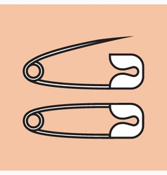 Safety pins outlined vector