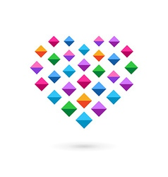 Heart mosaic crystal logo icon vector