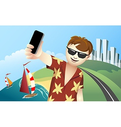 Vacation selfie vector
