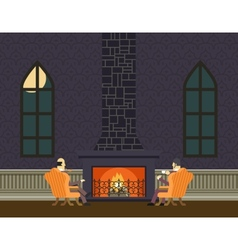 Gentlemen at fireplace evening room hall vector