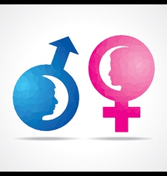 Male female symbol with female fac vector