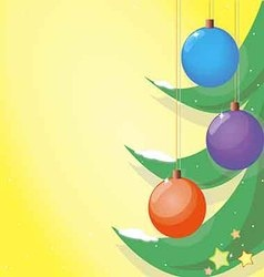 Shiny christmas balls on the green branches vector