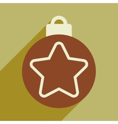 Flat icon with long shadow christmas ball vector