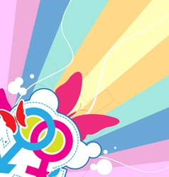 male and female with retro background vector image