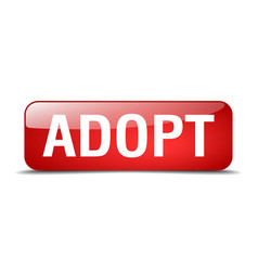 Adopt red square 3d realistic isolated web button vector