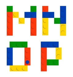 Alphabet set made of toy construction brick blocks vector image vector image