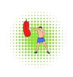 Boxer hitting the punching bag icon comics style vector