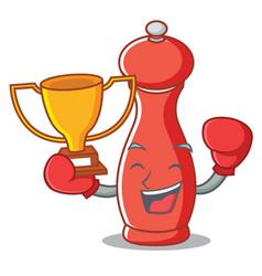 Boxing winner pepper mill character cartoon vector