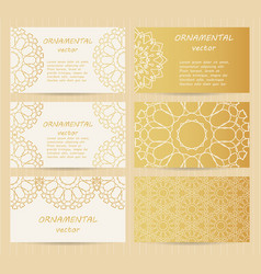 Business cards 35 x 2 inch size set golden vector