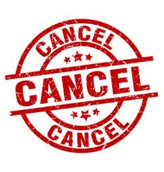 Cancel round red grunge stamp vector