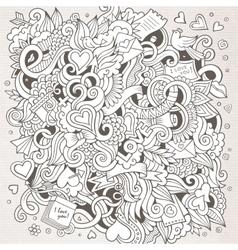 Cartoon hand-drawn Love Doodles Sketchy vector image vector image