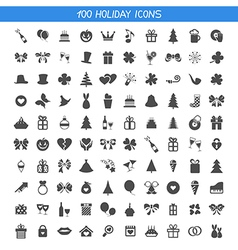 Collection holiday icons vector image vector image