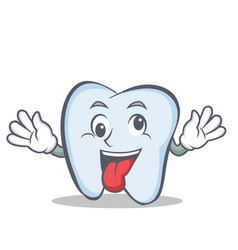 Crazy tooth character cartoon style vector