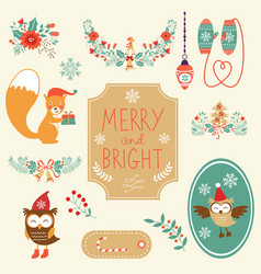 Cute christmas clipart collection vector