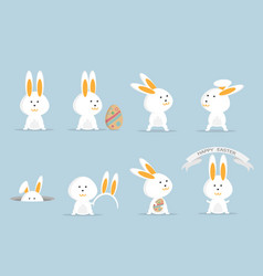 cute rabbit or bunny happy easter set vector image