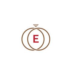 e letter ring diamond logo vector image