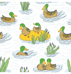 eamless background with ducks and reed vector image