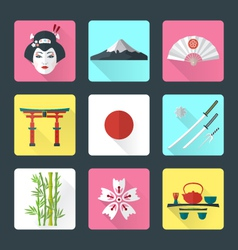 Flat japan icons set vector