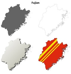 Fujian blank outline map set vector image vector image