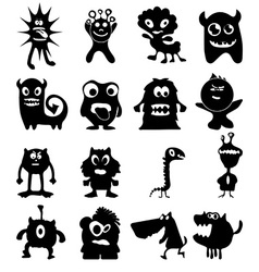 Funny monster icons set vector