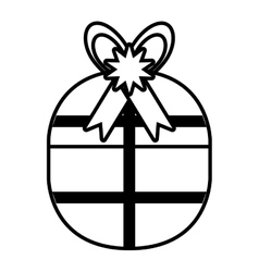 Gift box stripes bow ribbon style outline vector