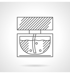 Glass vial of perfume flat line icon vector