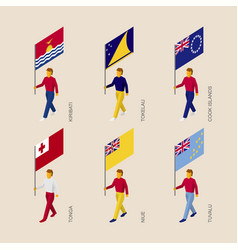 isometric people with flags of oceania countries vector image vector image