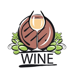 logo white wine barrel and the vine vector image