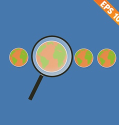 Magnifier enlarges earth for search concept - vector