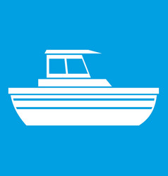 Motor boat icon white vector