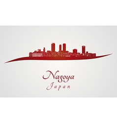 Nagoya skyline in red vector image