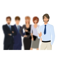 Portrait of young businessman with business team vector image