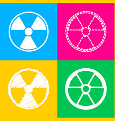 Radiation round sign four styles of icon on four vector