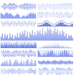 set of blue sound waves vector image vector image