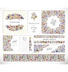 Set of creative universal floral cards vector image vector image