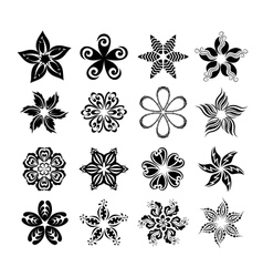 Set of graphic flowers vector image vector image